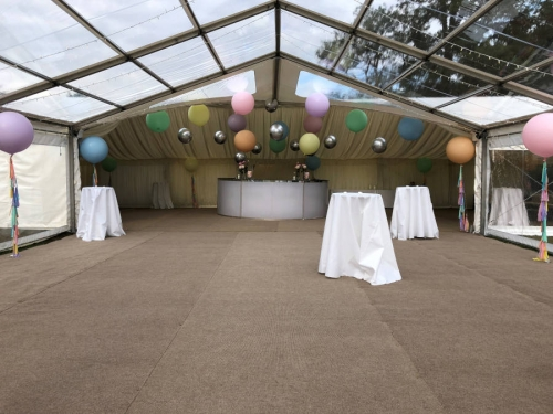 Clearspan marquee with clear roof and walls pastel and metallic balloons