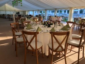 Henley catering green traditional marquee with cross back chairs