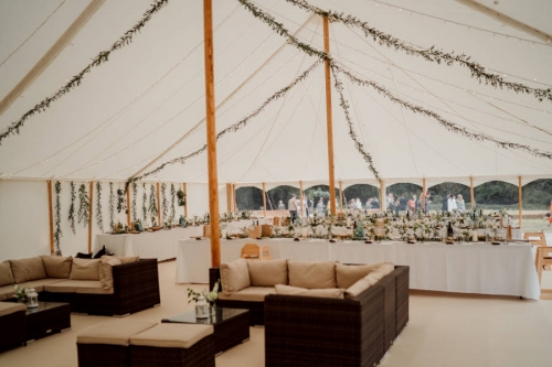 Floral wedding marquee furniture